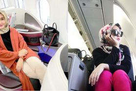 10 In-Flight outfit ala Dian Pelangi, cocok buat para hijab traveler