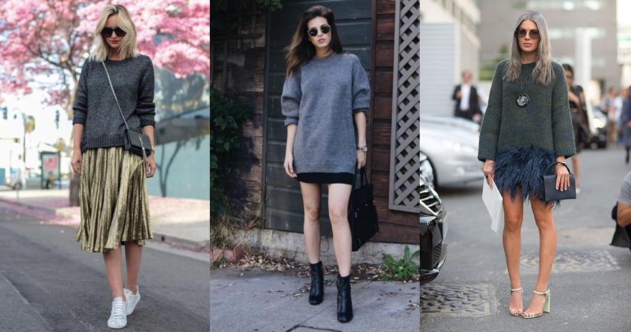 12 Ide outfit sweater & rok ini bikin kamu tampil makin stylish