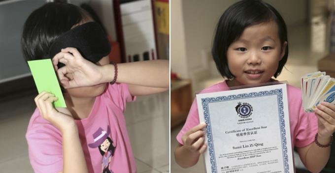 Gadis 8 tahun ini mampu mengenali warna kartu dengan mata tertutup