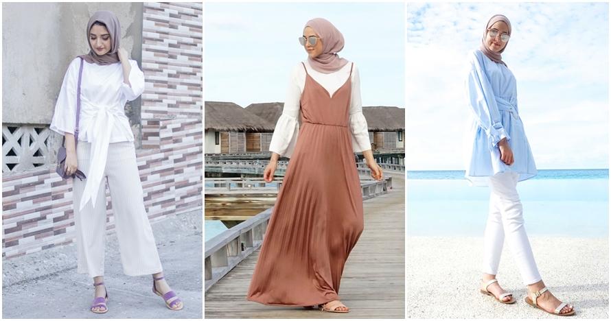 8 Ide outfit hijaber untuk ke pantai yang nyaman & simpel, cobain yuk