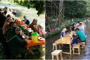 Unik banget, rumah makan ini ajak pengunjungnya makan di tengah sungai