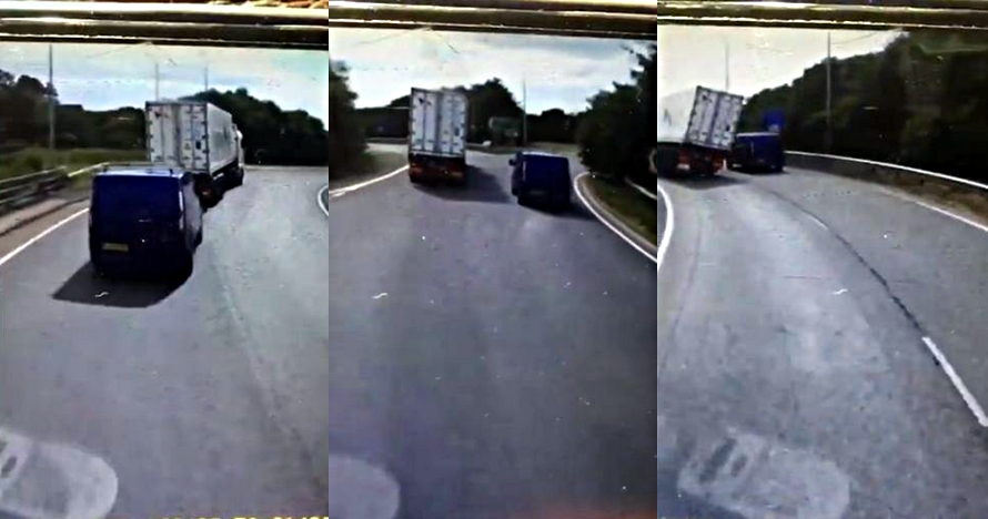 Dashcam rekam mobil malang yang tertimpa truk kontainer di jalan raya