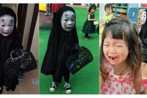 Ingat bocah imut berkostum No Face? Dandanannya kali ini makin seram