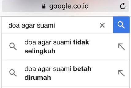 Perbandingan riwayat 'doa suami vs doa istri' di Google ini kontras
