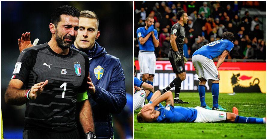 8 Potret kesedihan pemain Italia setelah gagal lolos Piala Dunia 2018