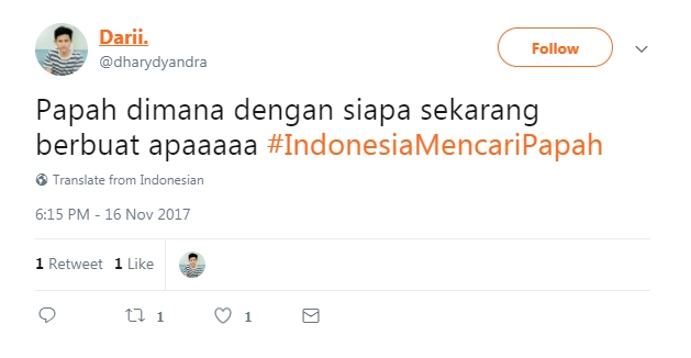 Indonesia Mencari Papah  © 2017 twitter
