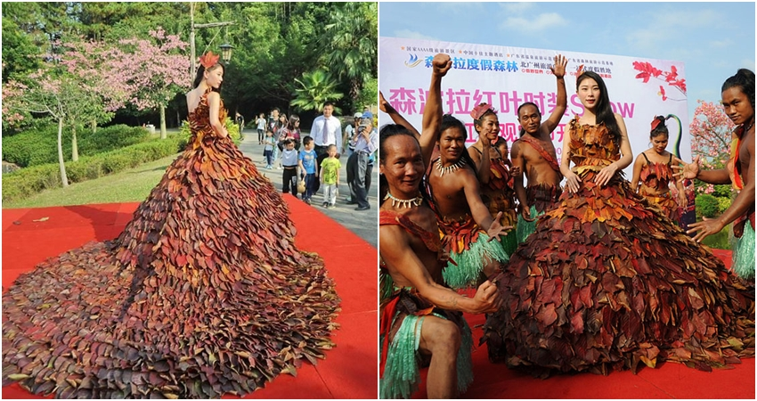 Gaun bikinan 4 desainer ini unik banget, bahannya dari 5.888 dedaunan