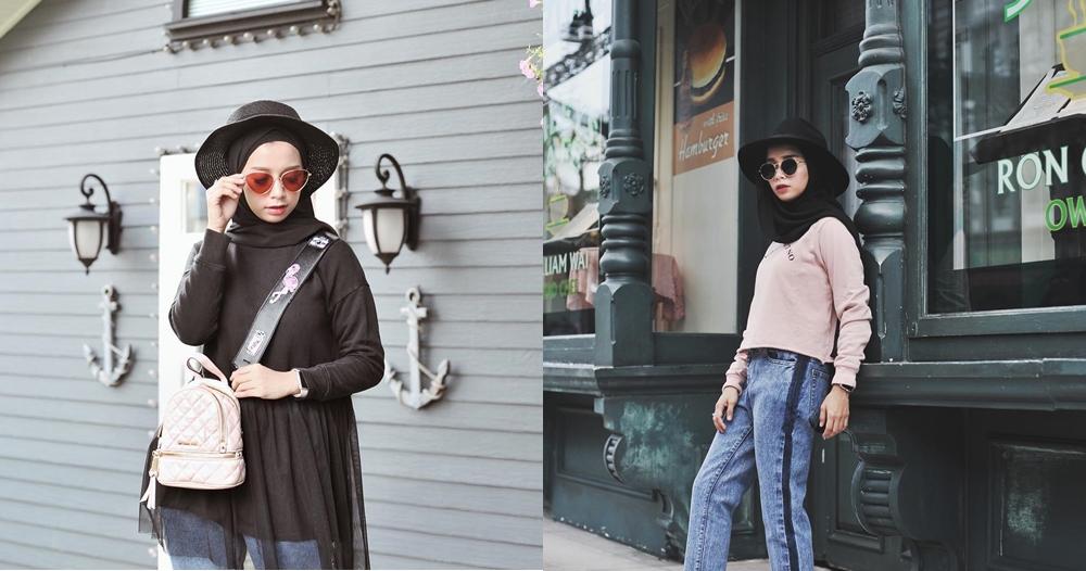 Tampil ceria dengan 9 padu padan hijab all-black ala selebgram Joyagh