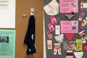 8 Celana dalam temuan ini dipajang di papan pengumuman, jijik banget