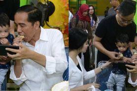 Momen kekompakan Jan Ethes makan durian bareng sang kakek Jokowi
