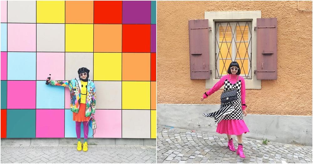 Intip 10 OOTD style motif colorful ala desainer Diana Rikasari