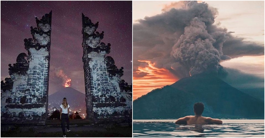 10 Momen panorama erupsi Gunung Agung jadi background foto turis Bali