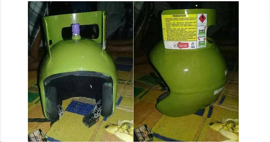 Tabung gas LPG 3 kg ini diubah jadi helm, kocak parah