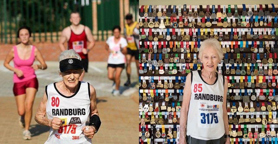 Nenek ini perkasa sekali, usia 85 tahun masih ikut lomba maraton