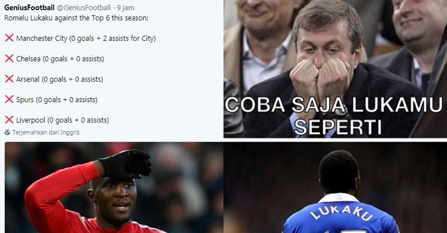 10 Meme sadis Manchester United yang kalah derby, Lukaku luka MU