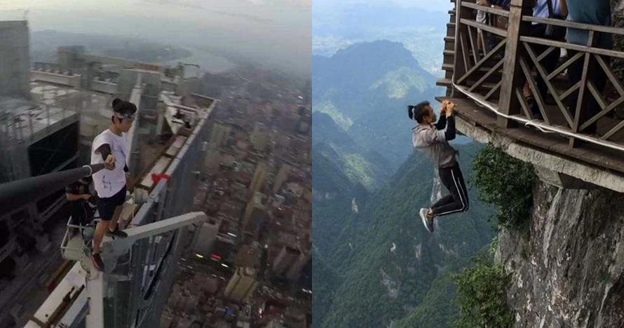 Penggila selfie ekstrem terekam video jatuh dari puncak gedung