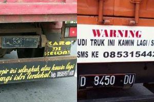 5 Tulisan kocak di truk ini bikin si sopir nggak berani lirik cewek