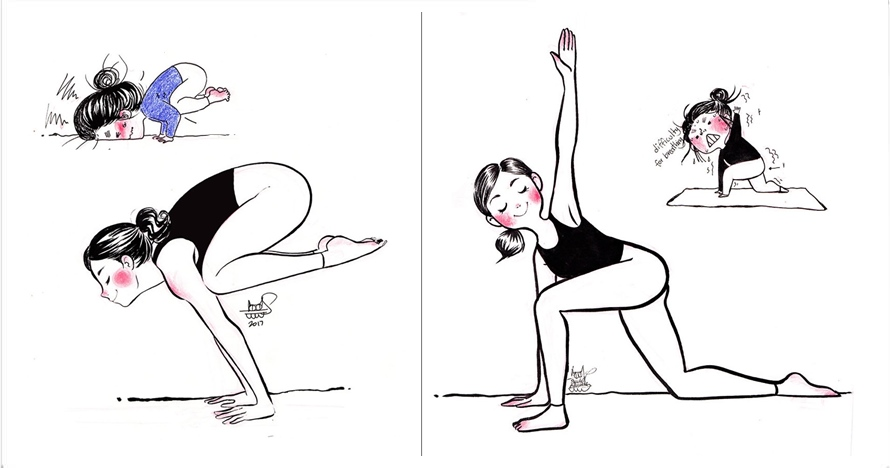 15 Ilustrasi ekspektasi vs realita cewek ketika yoga in bikin ngakak