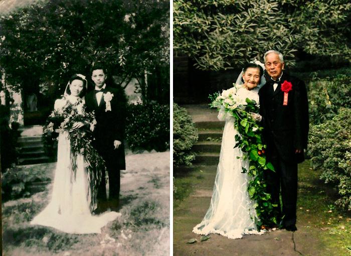 7 Pasangan ini berfoto ulangi pose yang sama usai puluhan tahun