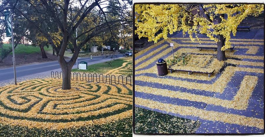10 Foto karya seni dari guguran daun ini kreatif abis, bikin takjub