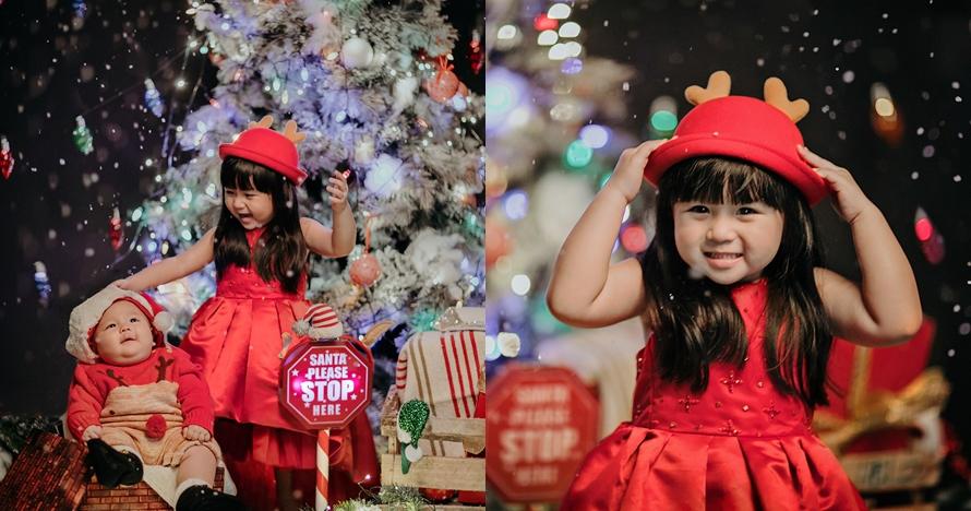 8 Potret selebgram cilik baby Marsson dan Moonella saat Natal, gemes!