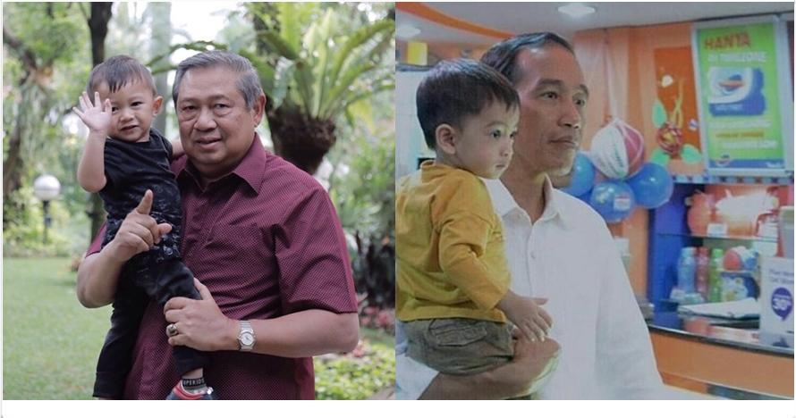 Ini beda gaya Jokowi dan SBY momong cucu, sama-sama kakek idaman