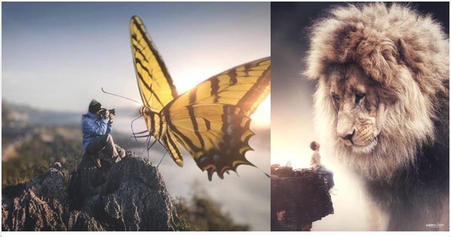12 Editan foto surealis manusia berhadapan hewan raksasa, bikin kagum