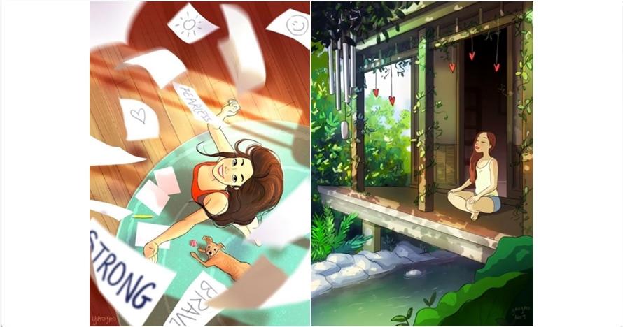 12 Ilustrasi gambarkan keseharian cewek ini bukti sendiri bisa happy