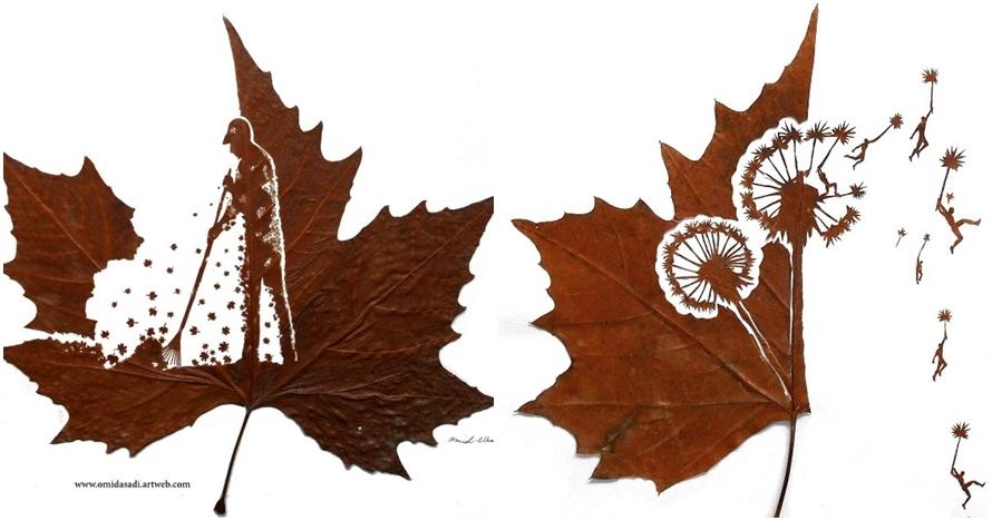 10 Karya seni ukiran daun ini bikin pangling, detailnya luar biasa