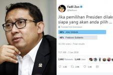 Hasil survei Fadli Zon yang menang Jokowi, respons warganet kocak