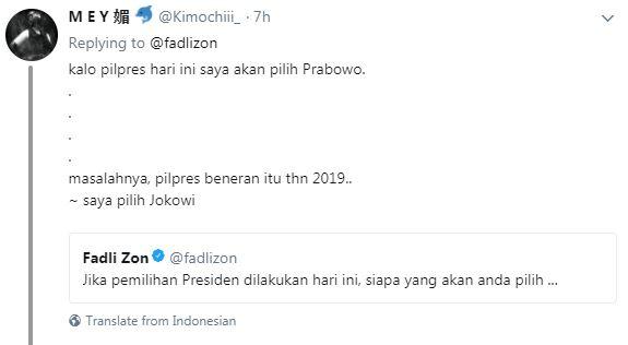 Hasil survei Fadli Zon © 2018 brilio.net