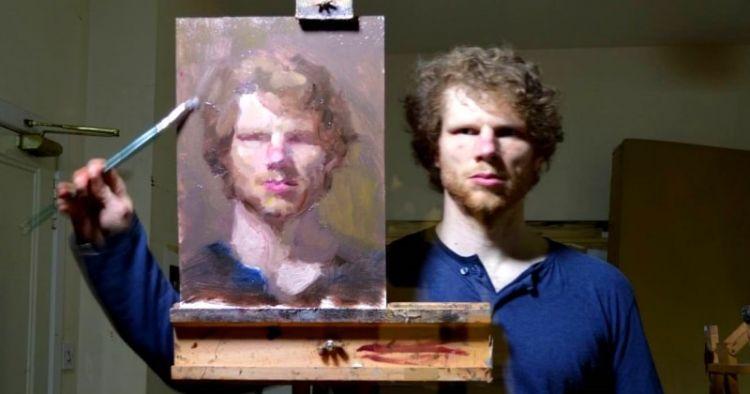Seniman ini lukis wajahnya sendiri sambil bercermin, skillnya keren