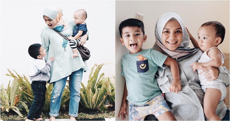 Asuh anak tanpa baby sitter, ini 10 foto Enno Lerian dan 4 anaknya