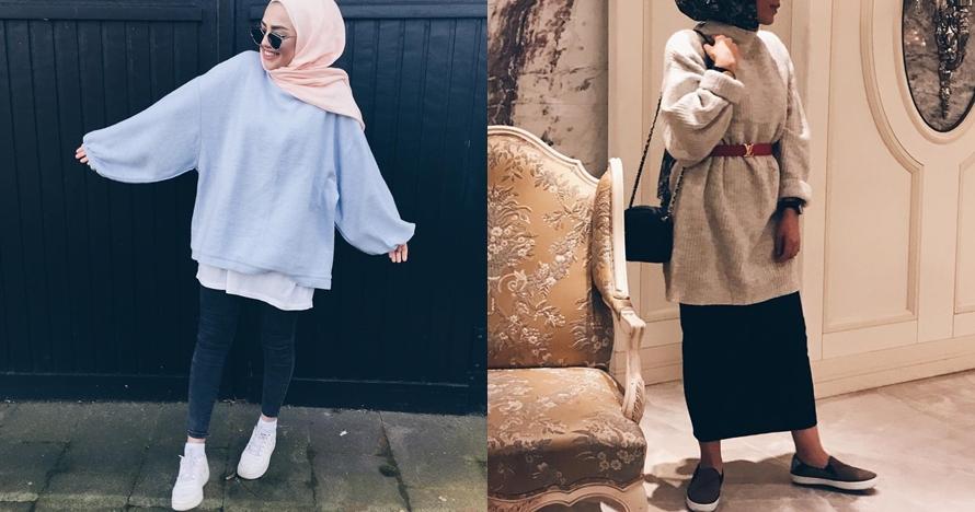 5 Style mix and match oversized sweater buat para hijabers