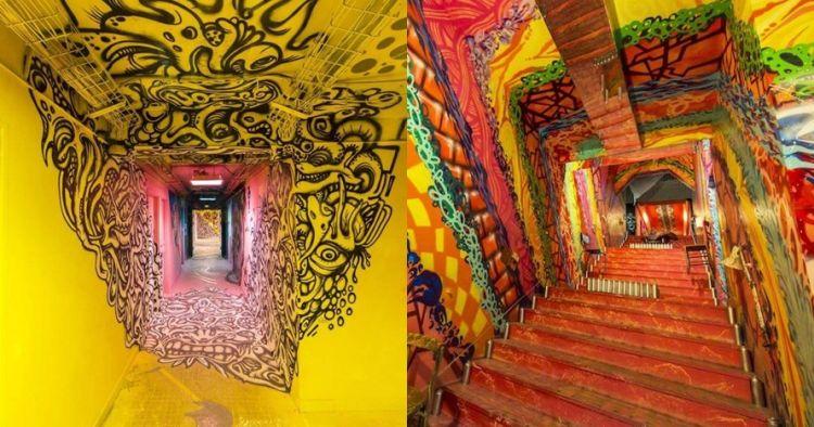 10 Karya grafiti di lorong asrama mahasiswa ini kerennya bikin takjub