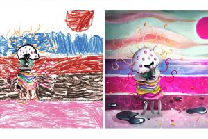 Seniman ubah 14 gambar karya anak-anak ini jadi ilustrasi keren