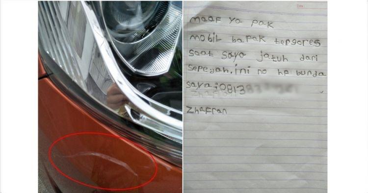 Viral, anak 6 tahun tulis memo ke pemilik mobil yang tergores sepeda