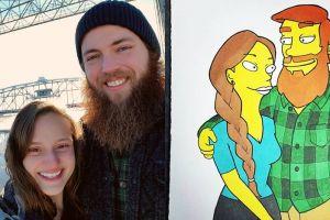 Kejutan ke pacar, ilustrator ini ubah foto mesra jadi 10 tokoh kartun
