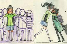 20 Ilustrasi momen pertemuan pertama pasangan LDR, menebus rindu nih