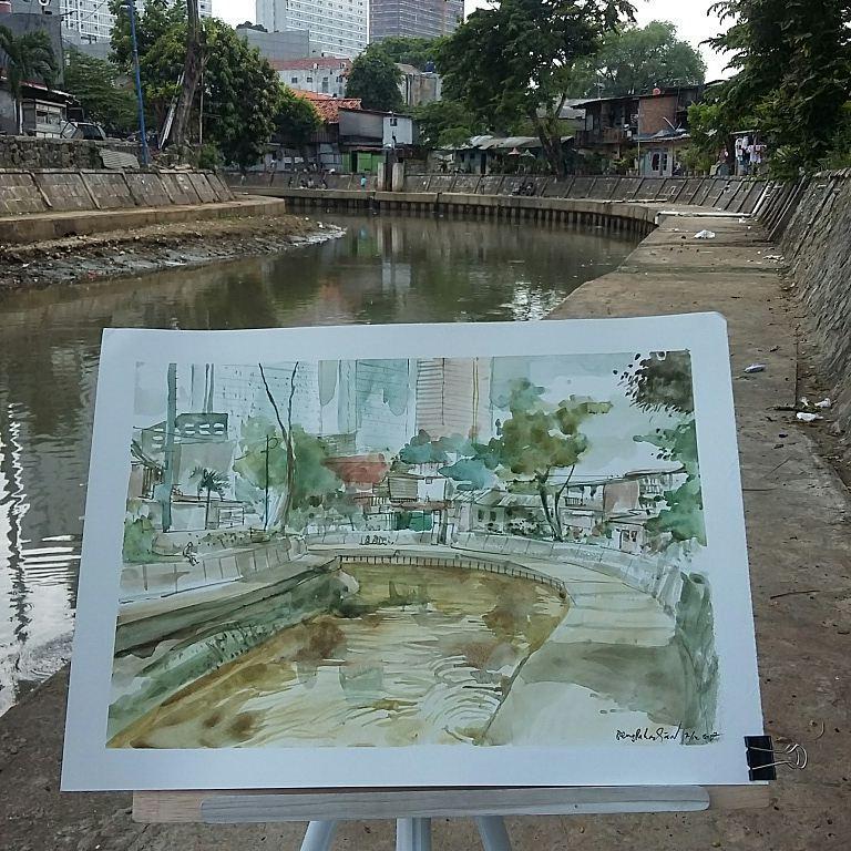 10 Sketsa indah pemandangan kota Jakarta, mirip banget ...