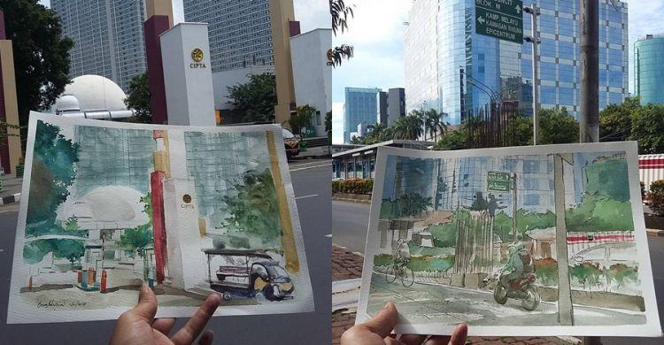10 Sketsa Indah Pemandangan Kota Jakarta Mirip Banget Sama Aslin