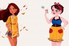 10 Ilustrasi ini tunjukkan saat princess Disney jadi anak millenial