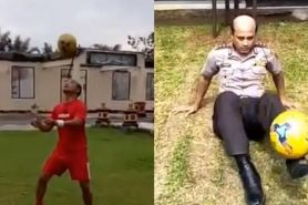 Viral, aksi Kapolres jugling bola mirip pesepak bola dunia