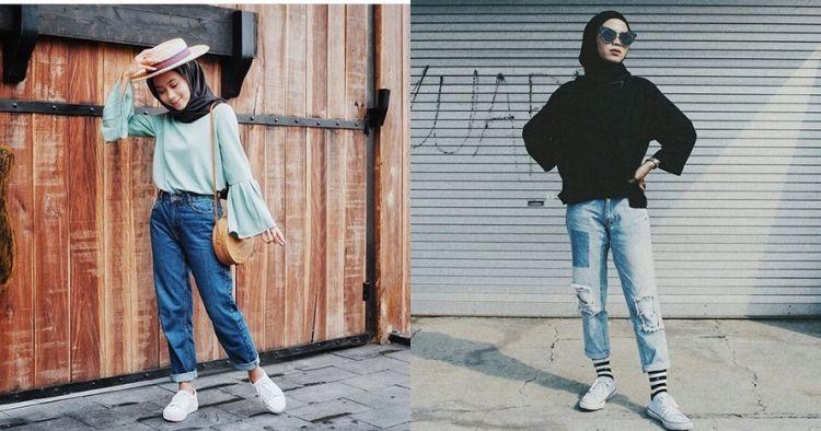 Gaya OOTD high waist jeans ala 7 selebgram hijabers, stylish dan sopan
