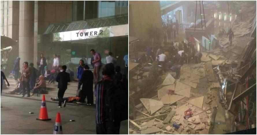 8 Foto selasar Gedung BEI yang roboh, evakuasi korban dramatis