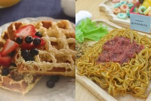 Yuk intip cara membuat waffle mi, kreasi unik dari mi instan