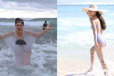 Pose seksi 10 seleb cantik saat main air di pantai, seger banget ya?