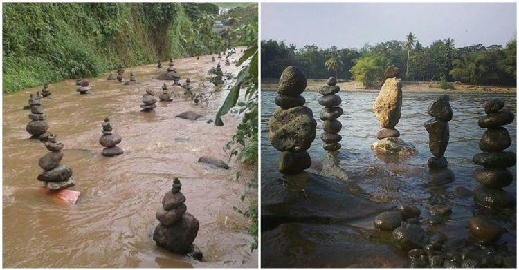 Bukan mistis, ini sosok di balik batu bersusun di Sukabumi yang heboh