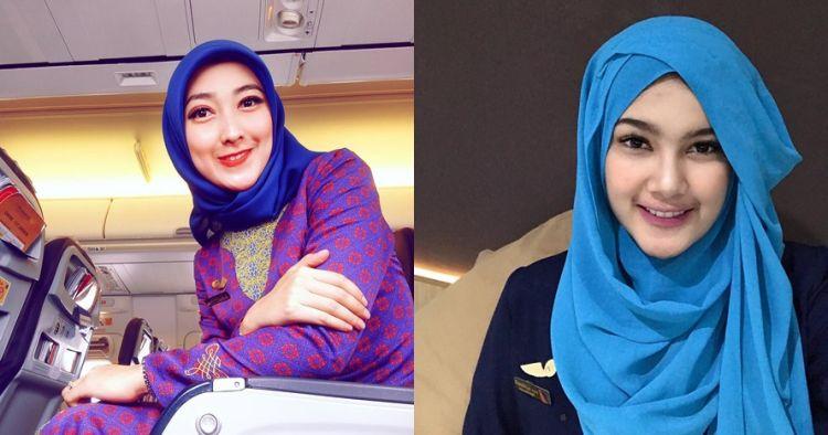 10 Pesona pramugari Indonesia saat berhijab, bikin betah di pesawat