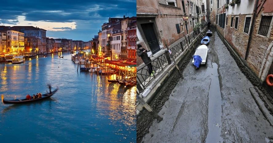 7 Potret sungai hits Venice Italia saat kering, kayak gimana tuh?